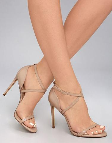Beige Sleek Cross-Strap Heel