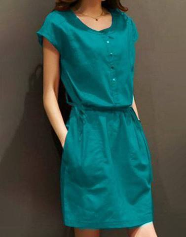 Hot Teal Blue Shift Dress
