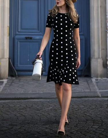 Save The Date Black Polka Dress