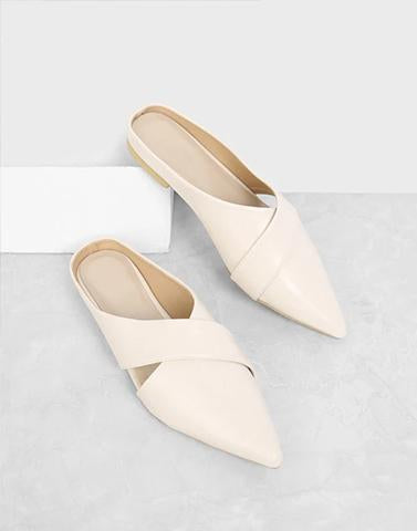 Beige Crossing Paths Flats