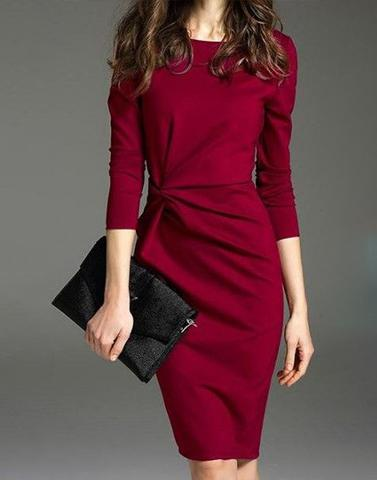 Maroon Date Ready Shift Dress
