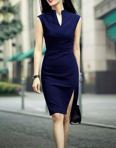 Elite Navy Blue Slit Bodycon Dress