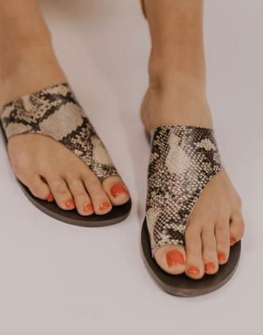 Snakeprint Toe Ring Flats