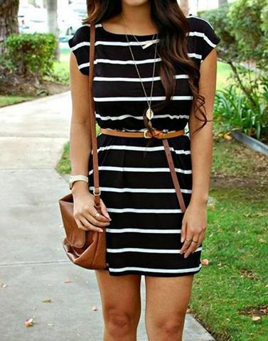 Delighted Stripes Black Dress