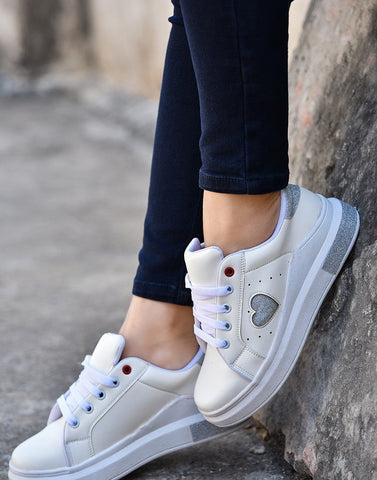 Shimmery Silver Heart White Sneakers
