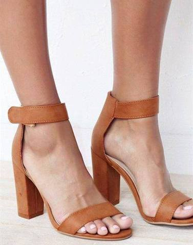 Tan Polished Block Heels