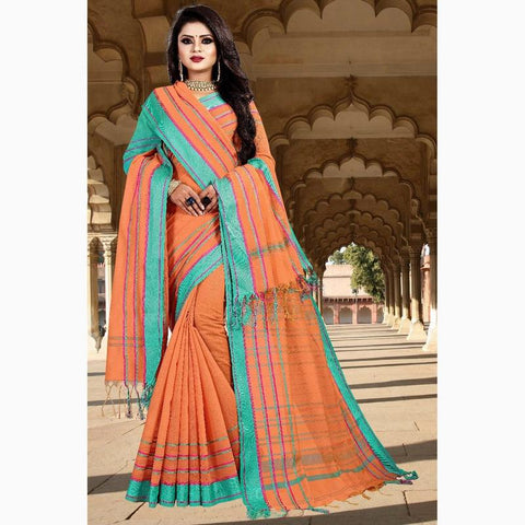 Vora Fashion Orange Color South Cotton Saree With Shawl And Blouse