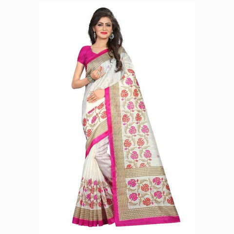 Vora Fashion White Color Fancy Bhagalpuri Silk Saree With Blouse Piece