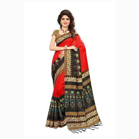Vora Fashion Red & Black Color Mysore Silk Saree With Blouse Piece
