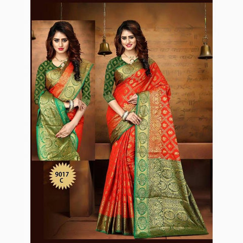 Vora Fashion Red & Green Color Heavy Rich Pallu Banarasi Silk Weaving Saree With Cotton Jecard Blouse Piece
