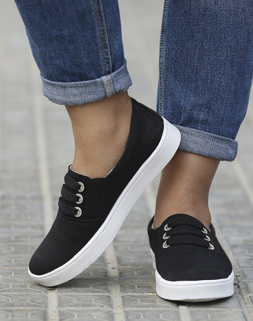Black And White Slide On Sneakers