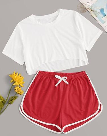 Serenity White & Red Nightwear