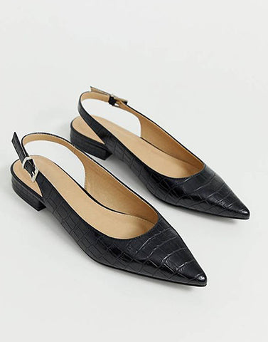New Look Black Croc Flats