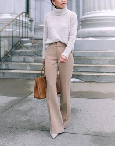 Dull Beige Bell Bottom Trousers