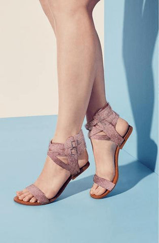 Nude Pink  Gladiator Flats