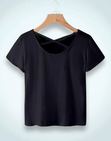 Black Solid Simple T-Shirt