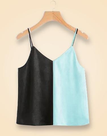 V-Neck Blue & Black Block Top