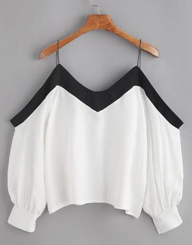 Black Cold Shoulder Borderline Top