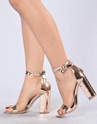 Shiny Golden Block Heels