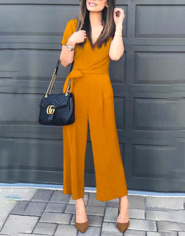 Mustard V-Neck Simple Jumpsuit