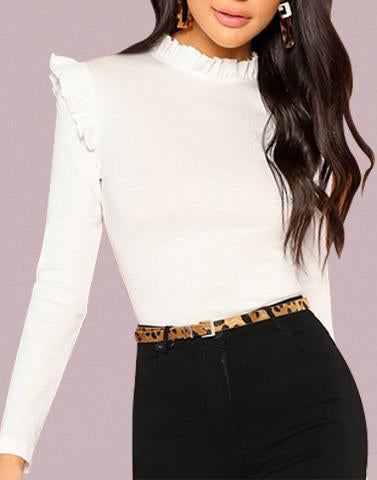 White Ruffle Turtle Neck Top