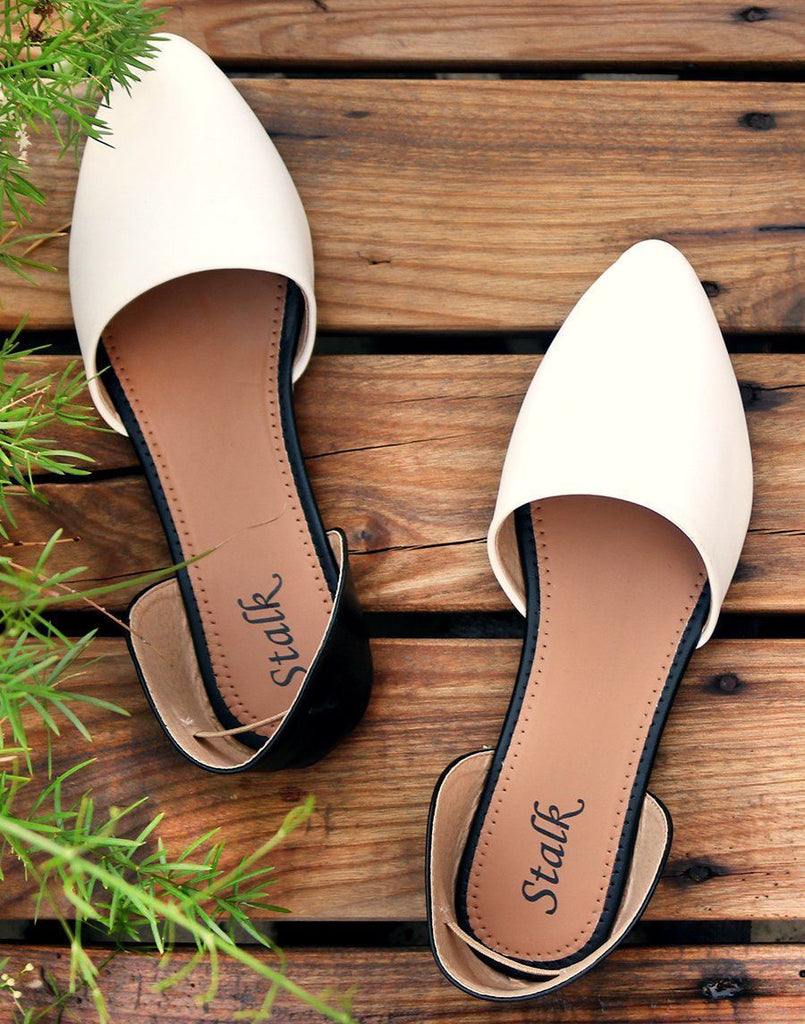 Black And White Pointed Toe Ballerina