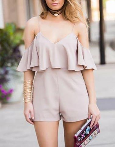 Cold Shoulder Dusty Pink Playsuit