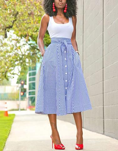 Knot Me Up Checkered Blue Skirt