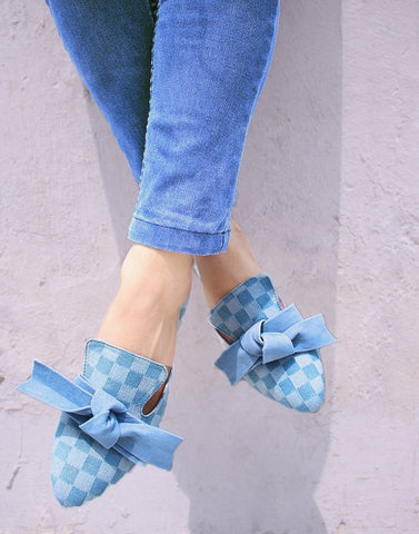 Denim Checked Bow Flat Mules