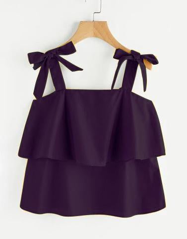 Purple Bow Tie Flounce Top