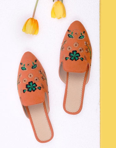 Designer Orange Embroidery Flat Mules