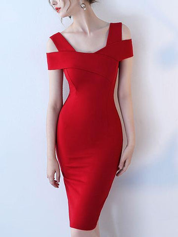 Falling  Red Cross Shoulder Dress