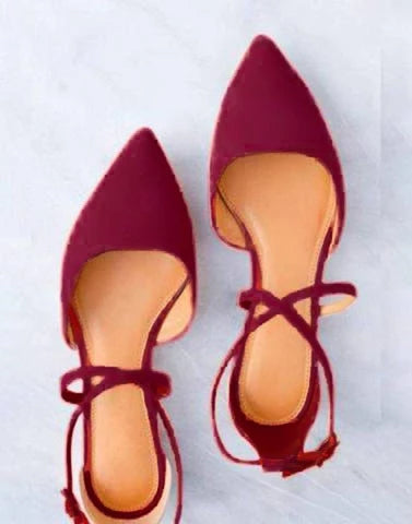 Maroon Pointed Cross Strap Flats