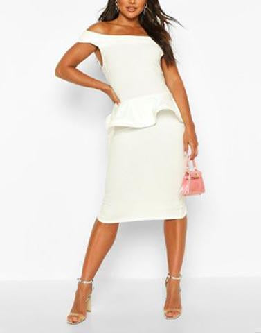 White Peplum Off Shoulder Dress
