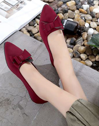 Cherry Maroon Pretty Bow Flats