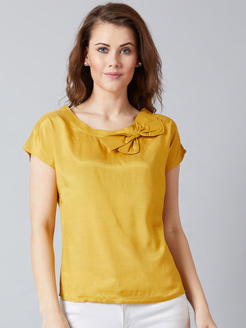 Bow Neck Mustard Top