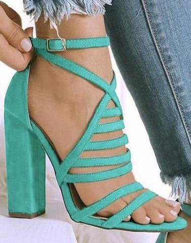 Turquoise Blue Strappy Block Heels
