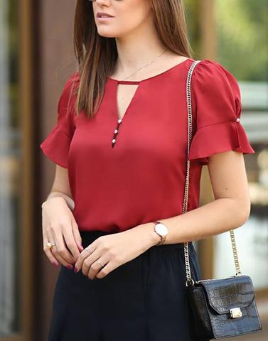 Cute Red Summer Top With  Button