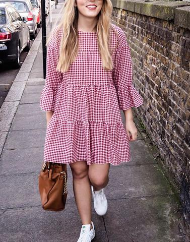 Cute Midi Gingham Dress