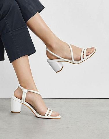Higher Strappy White Heels