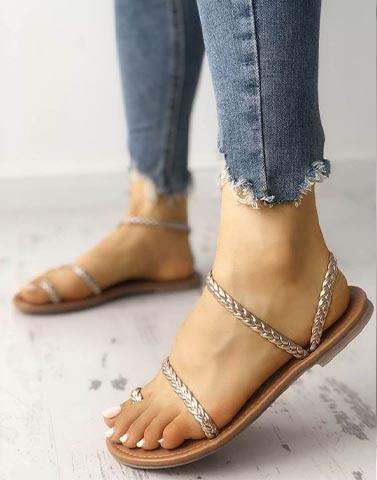 Strappy Saddles Rose Gold Sandals