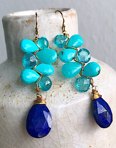 Mykonos Collection - Woven Earrings with Lapis and Turquoise