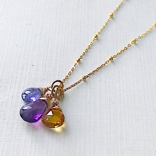 Amethyst, Citrine, and Tanzanite Triple Necklace