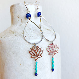 Turquoise and Lapis Lotus Teardrop Hoops