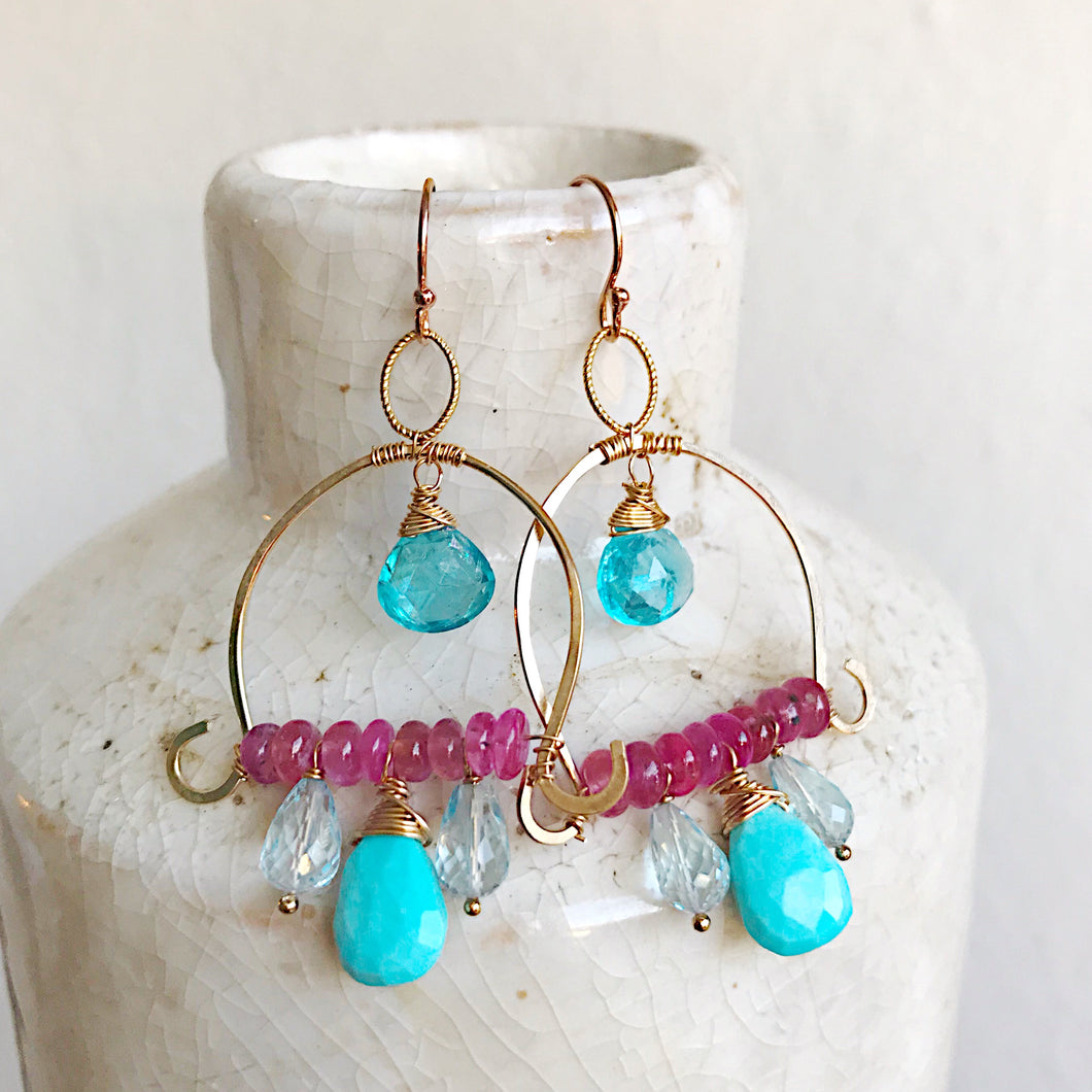 Apatite, Turquoise and Pink Sapphire Semi-Hoop Earrings