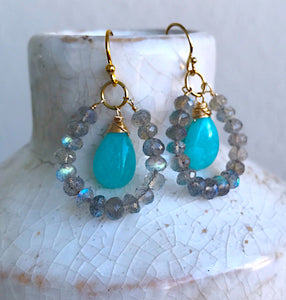 Amazonite and Labradorite Earrings