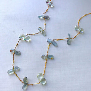 Aquamarine and Green Amethyst  Delicate Briolette Necklace