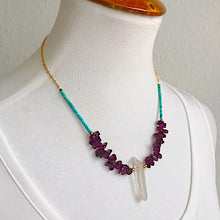 Garnet and Turquoise Quartz Necklace