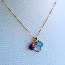 February Birthstone Triple Necklace- Pink Amethyst, Apatite, and Amethyst