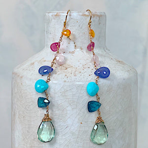 Green Amethyst Linked Gemstone Spectrum Earrings